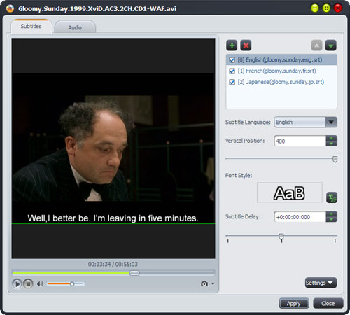 Convert to DVD, add subtitle to DVD