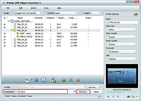 Convert DVD movie to AVI, MP4