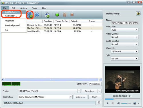 how to change mp4 to flv