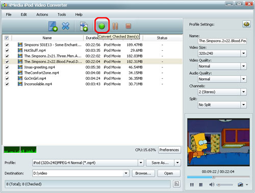 Convert MPEG to iPod MP4