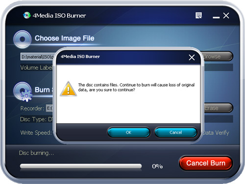 Burn ISO image to DVD