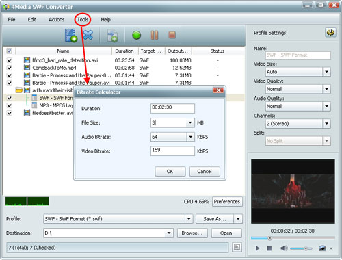 How to convert videos to SWF format